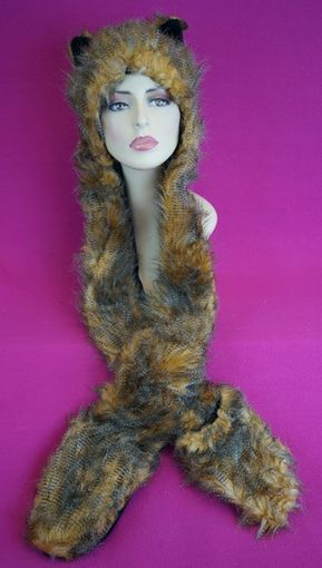 Faux Fur Kitty Hat with Mittens