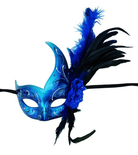 Feather Party Mask BLue