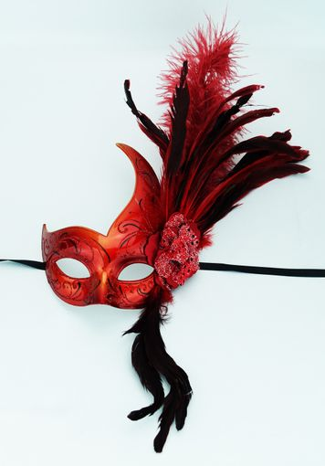 Feather Party Mask Red