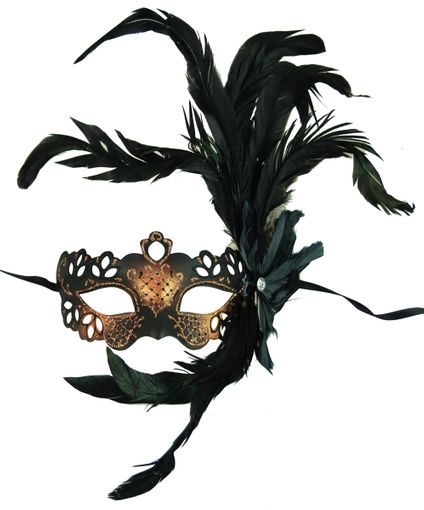Georgine Feather Masquerade Eye Mask Copper