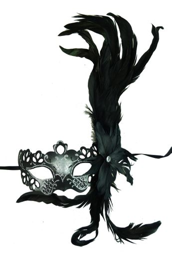 Georgine Feather Masquerade Eye Mask Silver