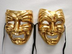 Gold Comedy Tragedy Mask Set