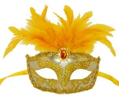 Gold Feather Masquerade Eye Mask