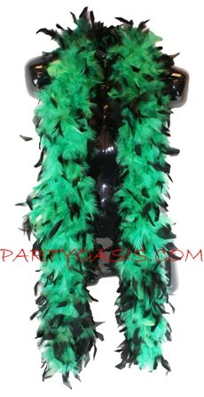 Green and Black Feather Boa 70 grams