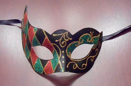 Green and Red Venetian Mask