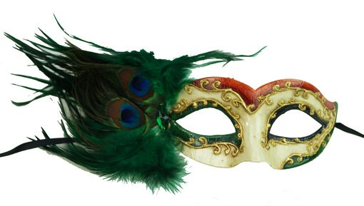 Green Feather Masquerade Mask