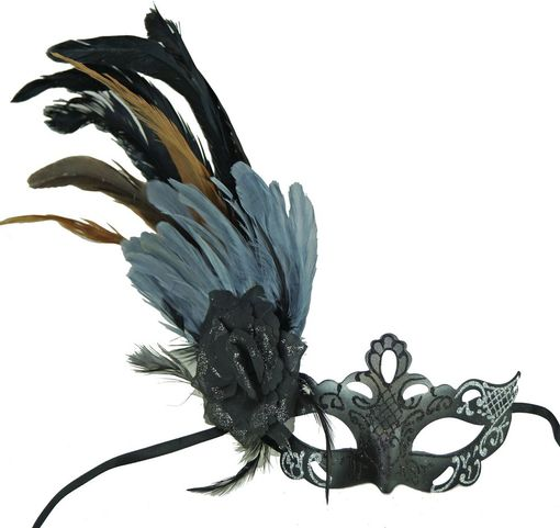 Grey Black Masquerade Mask With Feathers
