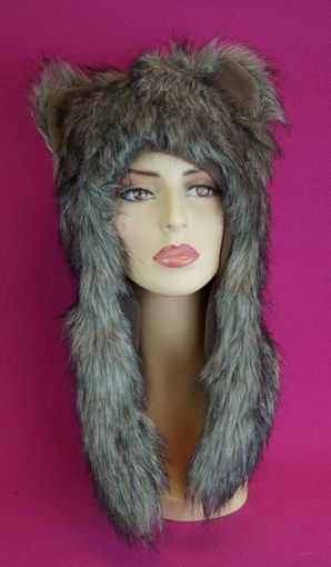 Grey Faux Fur Hat with Ears