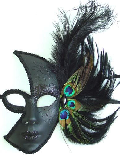 Half Moon Mask with Feather