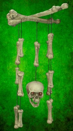 Halloween Bones Wind Chime With L.E.D Lites And Sound