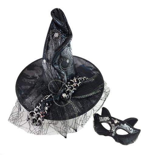 Halloween Witch Hat And Cat Mask Costume Set