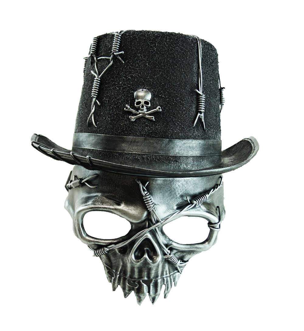 Halloween Zombie Skull Mask With Matching Skull Stop Hat Silver