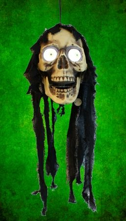 Hanging Halloween Skull With Moving Eyes. Size 20 inches