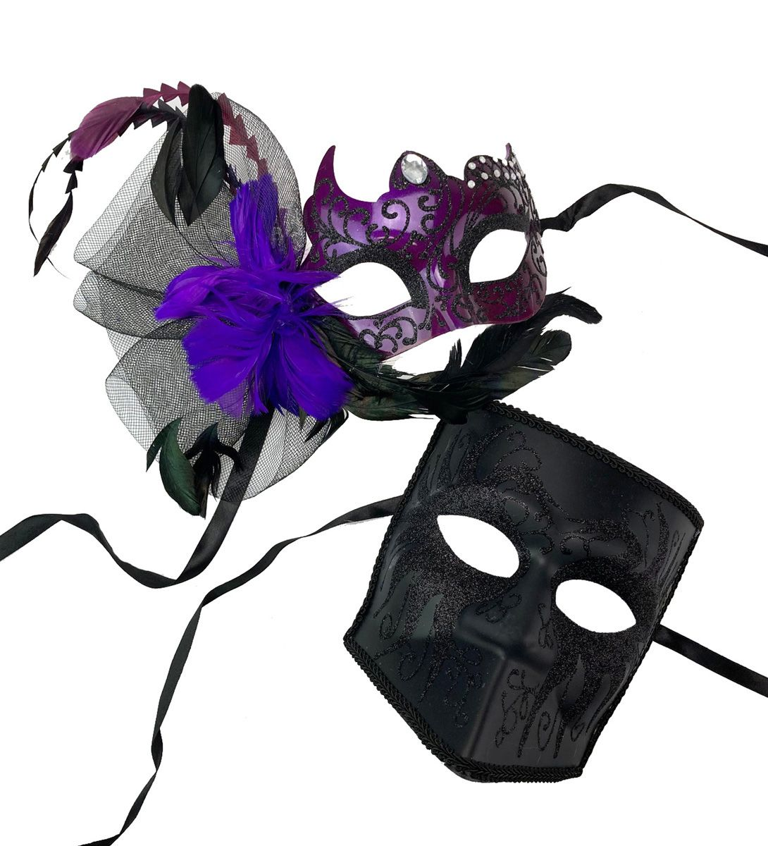 His And Hers Masquerade Ball Couples Masks Set