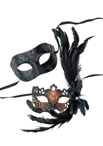 His And Hers Masquerade Couples Mask Set Copper And Black