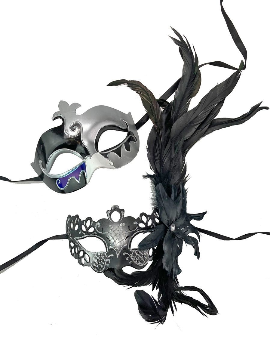His And Hers Venetian Couples Masks Masquerade Couples Mask set