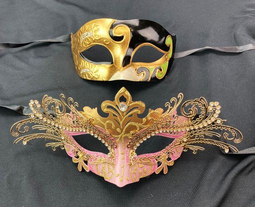 His Hers Venetian Masks Couples Set Pink And Gold