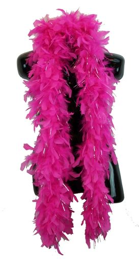 Hot Pink Feather Boa with Silver Tinsel