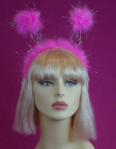 Hot Pink Headband with Marabou Pom Poms