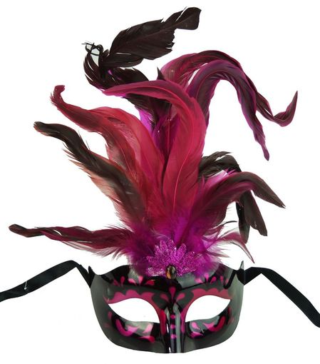 Hot Pink Masquerade Mask With Feathers