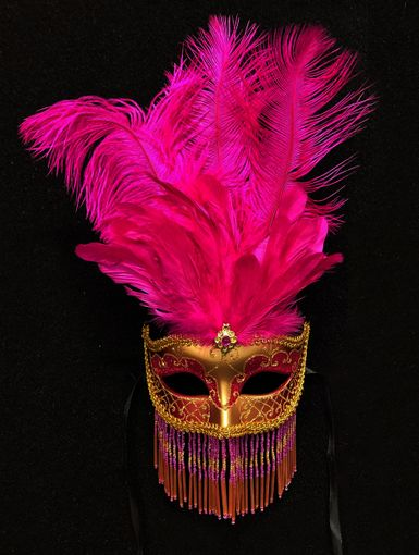 Hot Pink Venetian Masquerade Mask With Beads