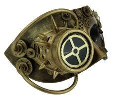 Gold Steampunk Mask With Goggle Men's Mask