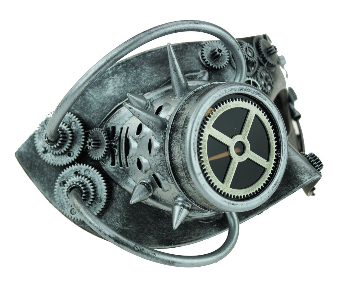 Silver Steampunk Mask With Goggle Men's Mask