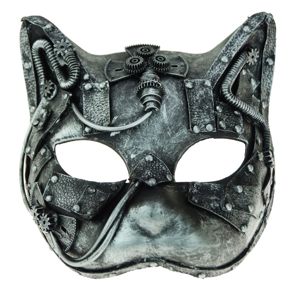 Women's Industrial Steampunk Cat Mask Silver