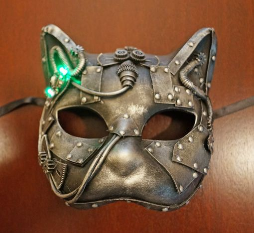 Industrial Steam Punk Cat Mask With Flashing Lights