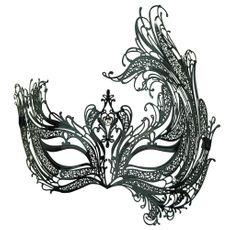 Women's Black Venetian Masquerade Party Eye Mask