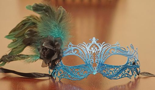 Blue Jacquelina Metal Masquerade Eye Mask