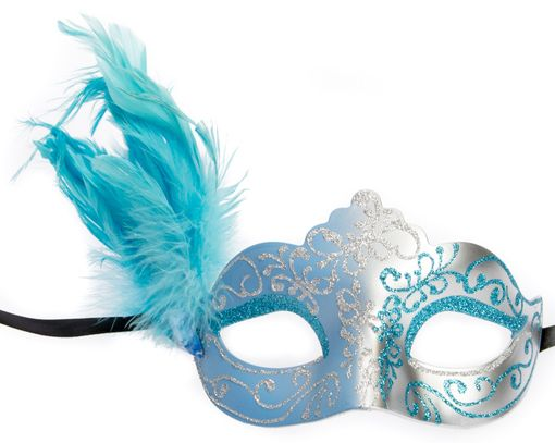 Julianna Feather Eye Mask Blue