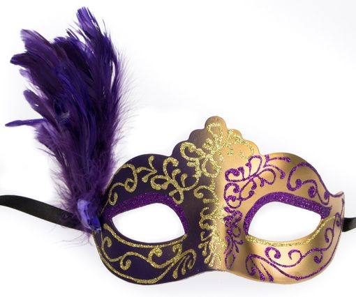 Julianna Feather Eye Mask Purple Gold
