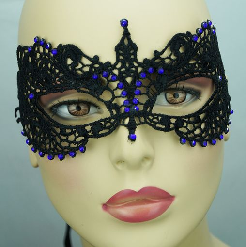 Karisa Embroidered Venetian Eye Mask Black With Purple Jewels