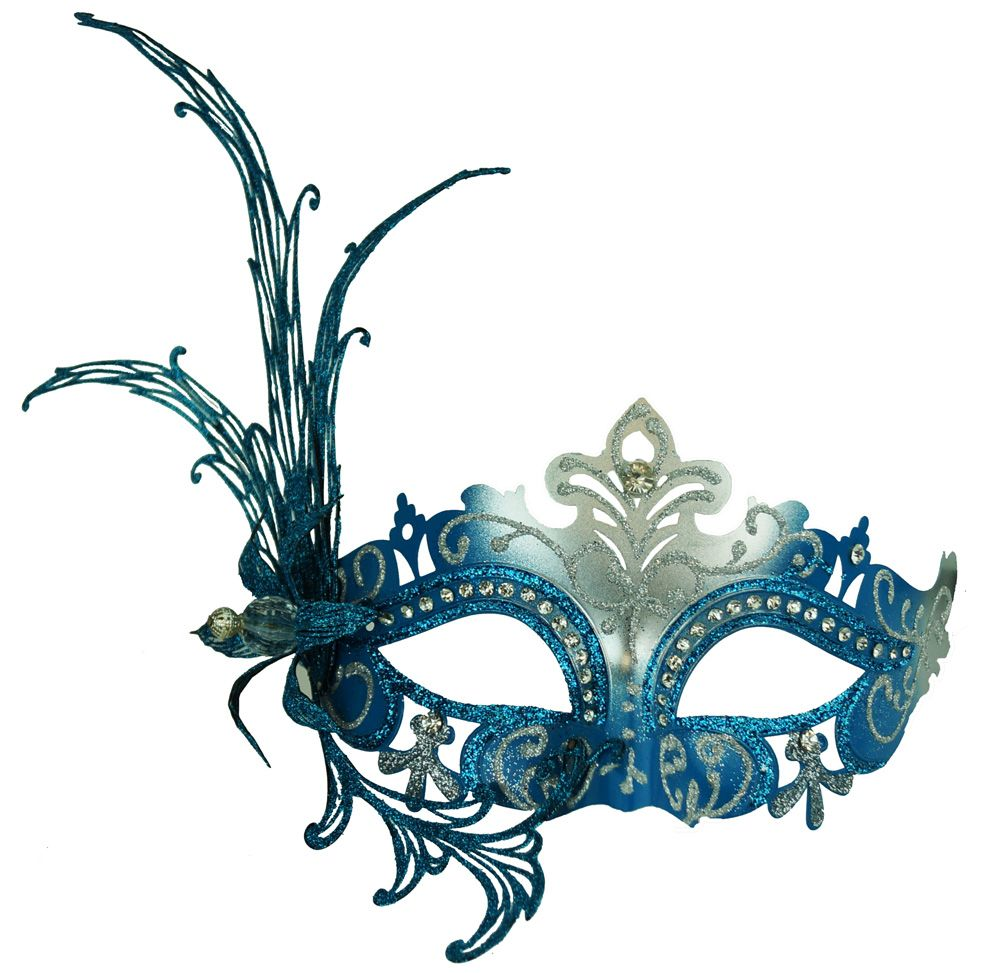 Women's Blue Metal Masquerade Mask