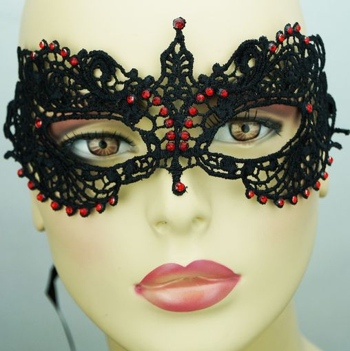 Kerisa Embroidered Venetian Eye Mask Black With Red Jewels