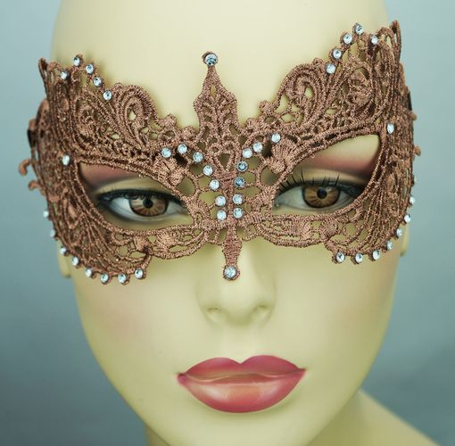 Kerisa Embroidered Venetian Masquerade Mask Bronze