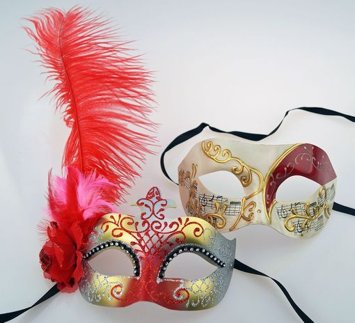 Kirin His & Hers Masquerade Mask Set In Red