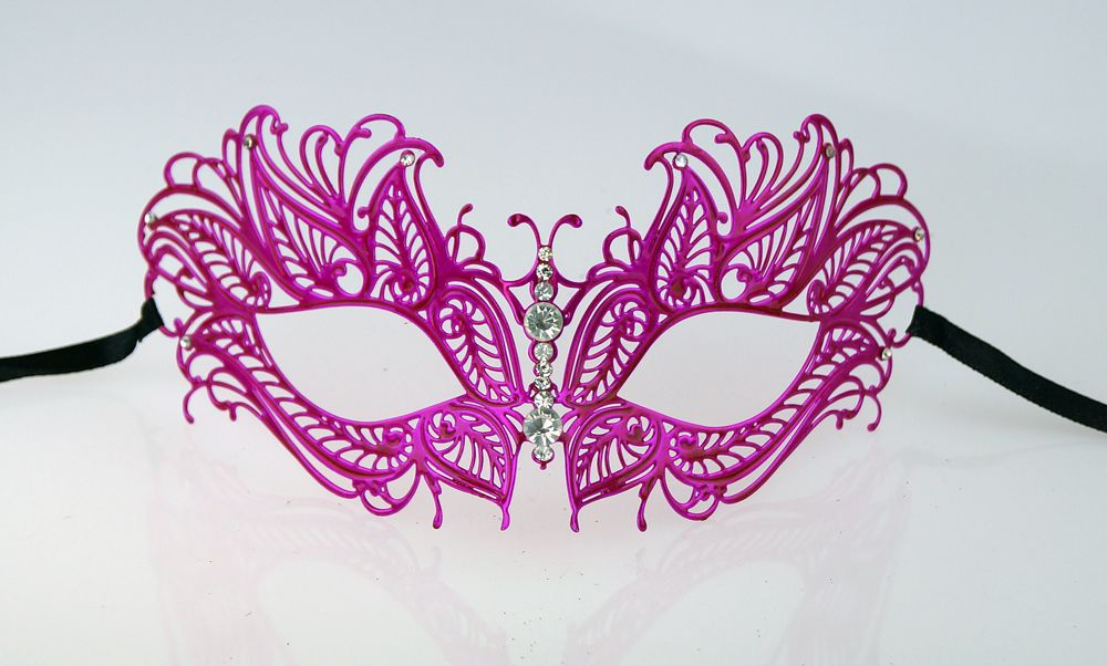Lazer Cut Butterfly Metal Masquerade Mask Pink
