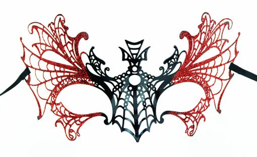 Lazer Cut Halloween Metal Masquerade Mask With Red Glitter