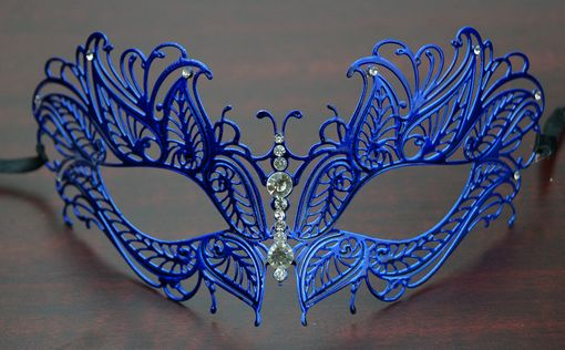 Lazer Cut Metal Butterfly Mask Blue