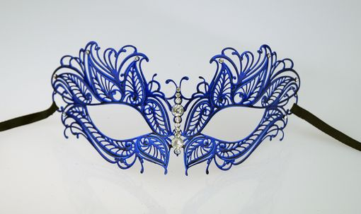 Lazer Cut Metal Butterfly Masquerade Mask Blue