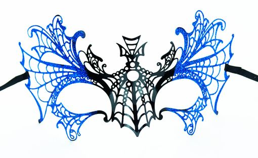 Lazer Cut Metal Halloween Mask With Blue Glitter