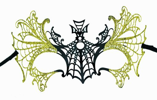 Lazer Cut Metal Halloween Masquerade Mask With Gold Glitter