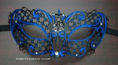 Blue Lazer Cut Metal Masquerade Mask