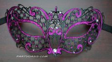 Purple Lazer Cut Metal Masquerade Mask