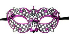 Hot Pink Laser Cut Metal Masquerade Mask