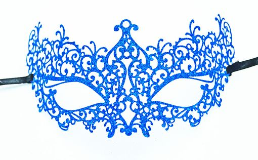 Lazer Cut Venetian Masquerade Mask With Blue Glitter