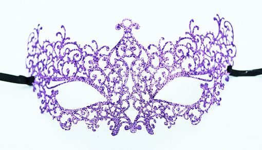 Lazer Cut Venetian Mask With Purple Glitter