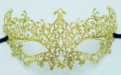 Lazer Cut Venetian Metal Masquerade Eye Mask With Gold Glitter